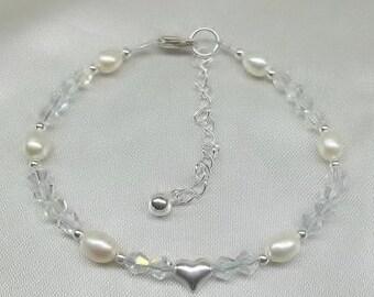 White Pearl Bracelet Clear AB Crystal Bracelet Heart Bracelet Swarovski Elements Adjustable Bracelet 100% 925 Sterling Silver Buy3+Get1 Free