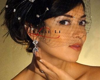 Leslie Li Cecila Style Crystal Bridal Birdcage Veil with Black Feather Fascinator 27-F31