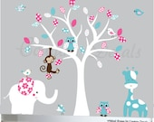 White tree childrens, decal, wall art design, jungle animals decals, owl decal, patterned decal, flowers decals patterns girls
