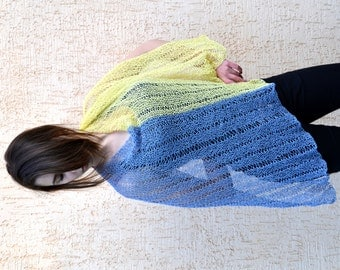 Womens Hand Knit Poncho, yellow blue, Shawl Wrap, Holiday Fashion, Summer Spring Poncho, teenagers, Size S - XXXL, oversized