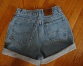 Vintage High Waisted Cuffed Denim Shorts Lee Riders - Size 28 inch waist M Size 8