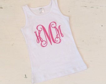 Monogrammed girl's tank top. Tank with monogram. Cute embroidered monogram on toddler clothes. Spring Summer shirt for girl.