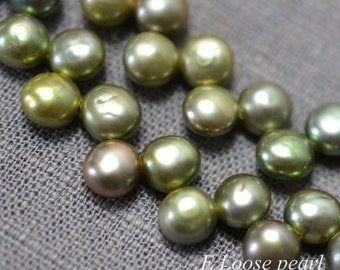 Button pearl,Freshwater Pearl,dancing pearl Top Drilled,Loose pearls Necklace pearl,Green 5.5-6.0mm 93Pcs Full Strand PL2246