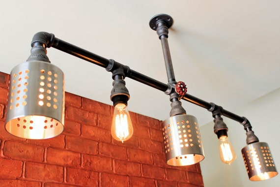 Items similar to industrial lighting 5 hanging pendant for Pipe bathroom light fixture