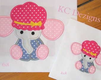 Baby Elephant With Hat Machine Applique Embroidery Design - 4x4, 5x7 & 6x8