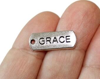 10 Grace Charms Antique Silver Tone - CH365