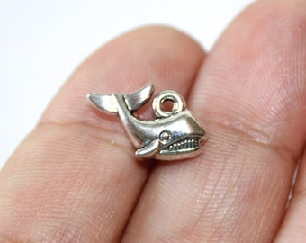 5 Whale Charms Antique Silver Tone 2 sided - CH433