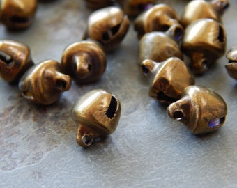 10X8mm Antique Bronze Tinkle Jingle Bell Charm Pendants, 50 PC(INDOC322)