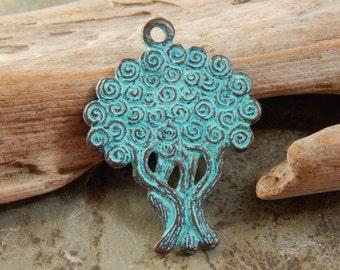 40X30mm Double Sided Tree of Life -  Green Patina Verdigris Greek Mykonos Casting Pendant, 1 PC (ING0M92)