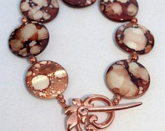 SALE!  Spotted Copper Shell Bracelet and Earrings Set, Handmade Jewelry, Copper Jewelry, Shell Bead Jewelry, Beach Boho