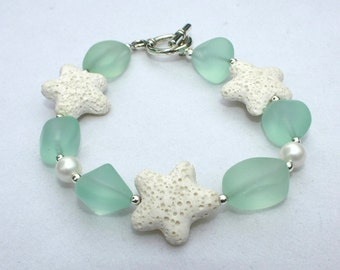 Beach Jewelry - Cultured Sea Glass, Shell Pearl and Lava Starfish Bracelet, Handmade Jewelry, Starfish Jewelry, Beach Glass Jewelry