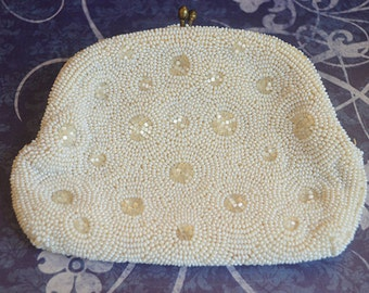 Vintage White Beaded Coin Purse Pouch with Mirror by Rosenfeld