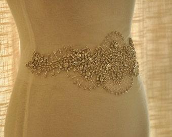 Super Luxurious Rhinestone Bridal Applique, Wedding Gown Beaded Crystal Applique,
