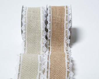 1.5 Inch Wired Burlap w/ Lace Edge Ribbon DIY Baskets Doll Wired Ribbon