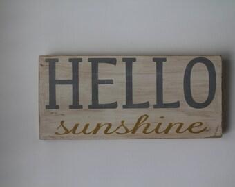 Hello Sunshine hand painted wood sign