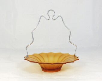 Vintage Amber Glass Bowl with Carrying Handle