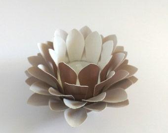 Handmade Paper Lotus - Wedding Centerpiece - Waterlily - Tealight holder - Paper Flower Decor - Metallic Copper - 3d Paper Art - Kids Room