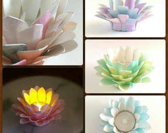 Custom - Made To Order - Watercolor - Paper Lotus Lamp - Tea Light - Waterlily - Centerpiece - Zen - Home Decor - Wedding - Table Decor