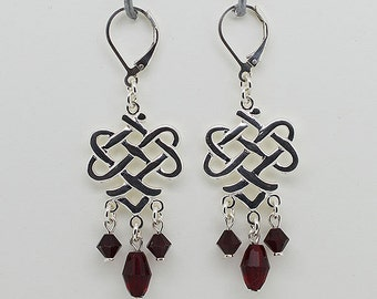 Sterling Silver Red Siam Earrings