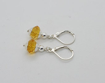 Genuine Citrine Gemstone With Sterling Silver Lever Back