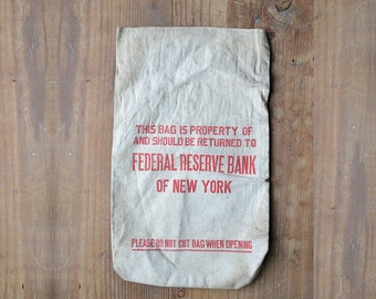 federal reserve of new york money bag, money bags, vintage bank,  bank memorabilia, canvas sack, from Elizabeth Rosen