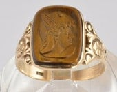 Antique Men's 10K Yellow Gold Ring - Tigers Eye Soldier Head Cameo Ring - Vintage Victorian 1890s Men's Carved Gemstone Ring - Size 9.25