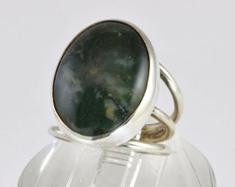 Vintage Agate Ring - 1970s Artisan Handmade Sterling Silver Ring with Moss Agate - Modernist Style Statement Jewelry - Size 4.75 Silver Ring