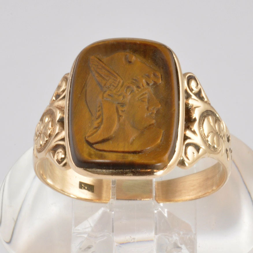 antique s 10k yellow gold ring tigers eye soldier