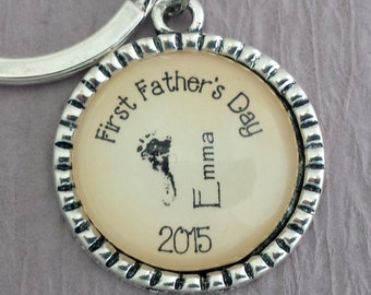 First Fathers Day Keychain, Fathers Day Gift Actual Baby's Footprint Keychain or Backpack Charm, Baby Feet Keychain,  New Dad Baby Memorial