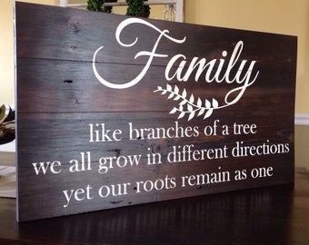 Family- like branches of a tree we all grow in different directions, yet our roots remain as one. Barn wood sign