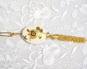 Porcelain Pendant,Vintage Painted Flower, Double Sided, Antique Gold Tone Tassel, HALF OFF Sale, Item No. B204