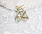 Crystal Earrings, Antique  Clip ON, Clear Stone, Silver Tone, HALF OFF S A L E, Item No. B042
