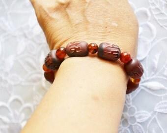 Vintage Beaded Bracelet, Dark Beads, Stretchy, Chunky, Carved Design, ESTATE Sale, Item No. B250