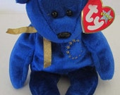 TY Beanie Baby - UNITY the Bear Europe Exclusive Small Blue Teddy Bear