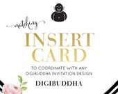 "INSERT CARD Made to Match any digibuddha Invitation design. Coordinating 2.5x3.5"" Enclosure Cards Bridal Baby Shower Wedding Birthday"