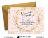 BRUNCH & BUBBLY INVITATION Bridal Shower Invite Blush Pink Gold Glitter Sparkle Calligraphy Elegant Free Shipping or DiY Printable- Remy
