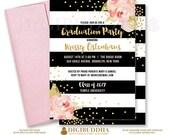 BLACK & WHITE GRADUATION Party Invitation College High School Pink Peony Stripe Gold Glitter Confetti Printable Free Shipping or DiY- Krissy