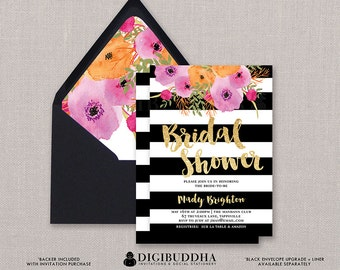 Black & White Bridal Shower Invitation Stripes Gold Glitter Modern Watercolor Flowers Wedding FREE PRIORITY SHIPPING or DiY Printable- Mady