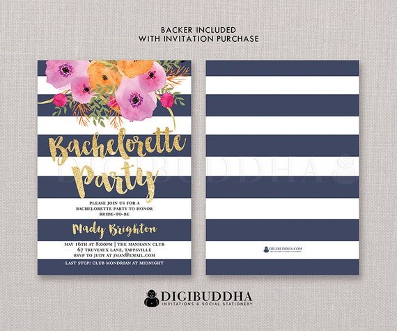 BACHELORETTE PARTY INVITATION Navy Gold Stripe Bridal Shower – Bridal Shower and Bachelorette Party Invitations