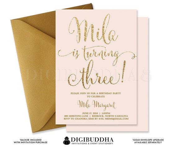 Pink gold glitter third birthday invitation blush confetti 3rd il570xn filmwisefo Images