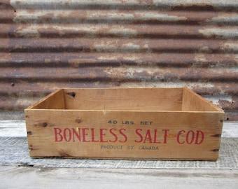 Antique Wood Box Container Primitive Wooden Box Boneless Salt COD Fish Canada Storage Display Organizer Desk Office Barn Pick Old Box