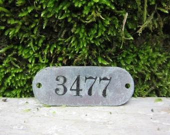 Number Tag Vintage Original Locker Basket Tag Worn Metal Number 3477 Tag #3477 Tag Lucky Number Address Door Number vtg Early 1900's Old