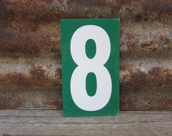 Number Sign Metal Vintage 7 or Number 8 Double Sided Small 7 1/4 x 4 1/4 Inches Seven Eight White Green vtg Gas Price Sign Service Station