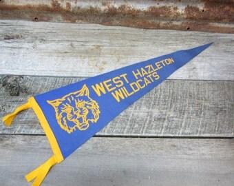 Vintage High School Pennant West Hazleton Wildcats Blue & Yellow 1950s Era Felt Pennant Flag Collectible Sports Decor Gameroom Man Cave