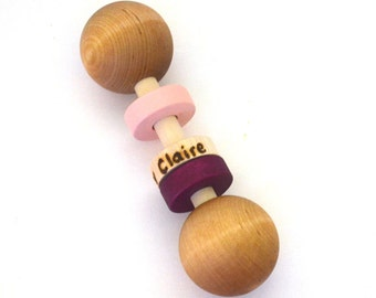 Montessori Personalized Rattle Toy - Pick Any 2 Colors - Natural and Eco Friendly Baby Gift