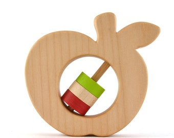 Apple Baby Rattle - Choose Your Own Colors - Wood Baby Rattle