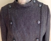 Vintage 1960s Misses' Women's Grey Wool Double Breasted Coat by Rigamarole Med