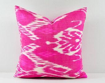 Ikat Pillow, Handmade Ikat Pillow Cover, Ikat throw pillows, Pink Ikat Pillow, Designer pillows, Decorative pillows, Accent pillows