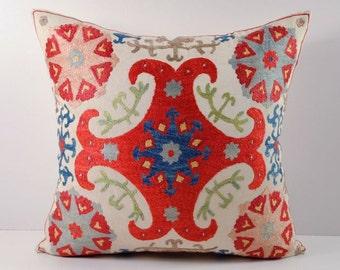 Handmade Suzani Pillow Cover msp13-21, Suzani Pillow, Uzbek Suzani, Suzani Throw, Boho Pillow, Suzani, Decorative pillows, Accent pillows