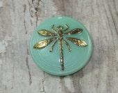 Green Button 18mm Czech Glass Dragonfly Gold Metal Shank (1)